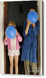 Children Blowing Up Balloons Acrylic Print by Sami Sarkis