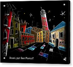 Children Book Illustration Venice Italy - Libri Illustrati Per Bambini Venezia Italia Acrylic Print by Arte Venezia