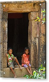 Children In The Doorway. Acrylic Print by David Freuthal