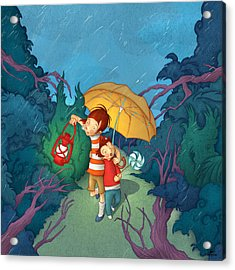 Children On Nocturnal Forest Acrylic Print by Autogiro Illustration