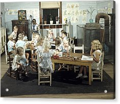 Children Play In A Day Nursery Acrylic Print by J Baylor Roberts