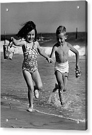 Children Playing At Seashore Acrylic Print by George Marks