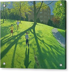 Children Running In The Park Acrylic Print by Andrew Macara