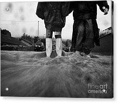 Children Walking In Heavy Rain Storm In The Street Acrylic Print by Joe Fox