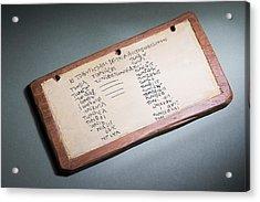Child's Mathematics Tablet, Byzantine Era Acrylic Print by Sheila Terry