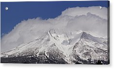 Chill Winds Across Shasta's Peak Acrylic Print by Mick Anderson