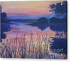 Acrylic Print featuring the painting Chincoteaque Island Sunset by Julie Brugh Riffey