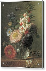 Chinese Aster And Balsam In A Glass Vase Acrylic Print by Cornelis Van Spaendonck