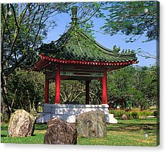 Acrylic Print featuring the photograph Chinese Gardens Garden Pavilion 21b by Gerry Gantt
