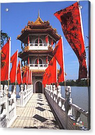 Acrylic Print featuring the photograph Chinese Gardens  North Pagoda 19c by Gerry Gantt