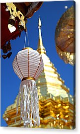 Acrylic Print featuring the photograph Chinese Lantern At Wat Phrathat Doi Suthep by Metro DC Photography
