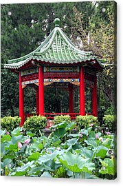 Chinese Pavilion And Lotus Flowers Acrylic Print by Yali Shi