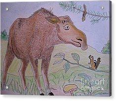 Chipmunks Tease Mildred The Moose Acrylic Print