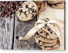 Chocolate Chip Cookies And Chocolate Chips Acrylic Print by Stephanie Frey