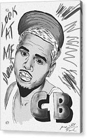 Chris Brown Cb Drawing Acrylic Print by Kenal Louis