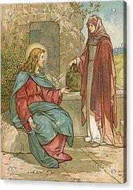 Christ And The Woman Of Samaria Acrylic Print by John Lawson