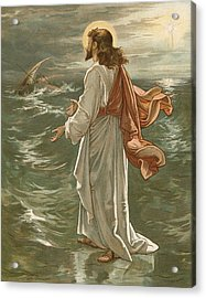 Christ Walking On The Waters Acrylic Print by John Lawson