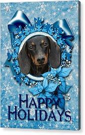 Christmas - Blue Snowflakes Dachshund Acrylic Print by Renae Laughner