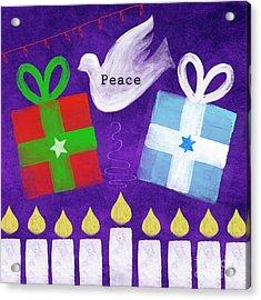 Christmas And Hanukkah Peace Acrylic Print by Linda Woods