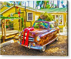 Acrylic Print featuring the painting Christmas At Crystal Cove by Gregory Dyer