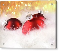 Christmas Balls With Abstract Holiday Background Acrylic Print by Sandra Cunningham