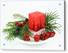 Acrylic Print featuring the photograph Christmas Composition With Wood Berries by Aleksandr Volkov