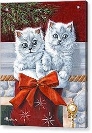 Christmas Kittens Acrylic Print by Richard De Wolfe