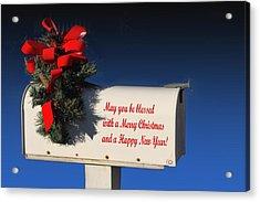 Christmas Mail Box Acrylic Print by Linda Phelps