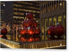 Christmas Ornaments Nyc Acrylic Print by Diane Lent