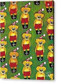Christmas Teddy Bears Acrylic Print by Genevieve Esson