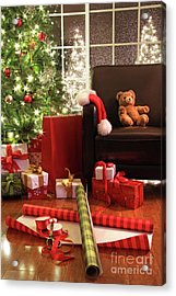 Christmas Tree With Gifts Acrylic Print by Sandra Cunningham