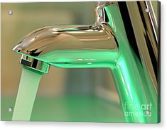 Chrome Sink Tap With Running Water Acrylic Print by Sami Sarkis