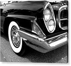 Chrysler 300 Headlight In Black And White Acrylic Print