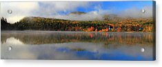 Church Across The Lake-panoramic Acrylic Print