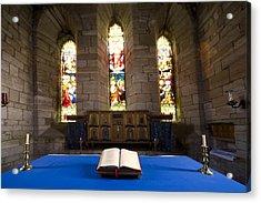 Church And Open Bible, Holy Island Acrylic Print by John Short