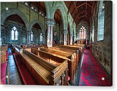 Church Benches Acrylic Print by Adrian Evans
