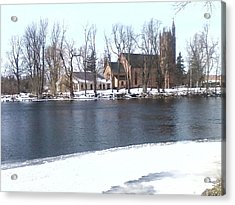 Church By The River Acrylic Print by Cecelia Taylor-Hunt