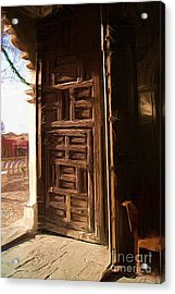 Church Door At Atotonilco Acrylic Print by John  Kolenberg