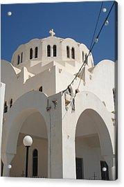 Church In Fira On Santorini Greece Acrylic Print by Christopher Mullard