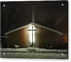 Church In The Snow Acrylic Print by Guy Ricketts