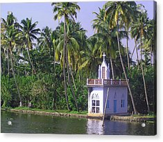 Church Located On A Coastal Lagoon In Kerala In India Acrylic Print