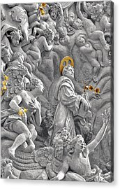 Church Of St James The Greater Prague - Stucco Bas-relief Acrylic Print by Christine Till