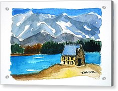 Acrylic Print featuring the painting Church Of The Good Shepherd Lake Tekapo New Zealand by Therese Alcorn