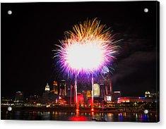 Cincinnati Reds Fireworks - Grand Finale Acrylic Print