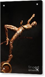 Citius Altius Fortius Olympic Art High Jumper On Black Acrylic Print by Adam Long