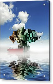 City At Sea, Artwork Acrylic Print by Victor Habbick Visions