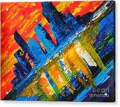 Acrylic Print featuring the painting City By The Sea by Everette McMahan jr