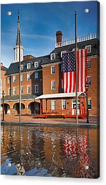 City Hall And Reflection I Acrylic Print by Steven Ainsworth