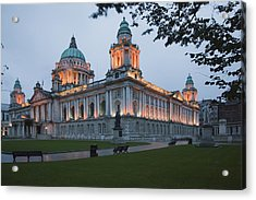 City Hall Illuminated Belfast, County Acrylic Print by Peter Zoeller