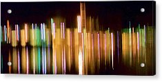 City Lights Over Water Abstract Acrylic Print by Carolyn Repka